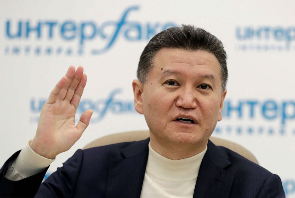 PHOTO: FIDE President Kirsan Ilyumzhinov gestures during a news briefing in Moscow, Russia, March 29, 2017.