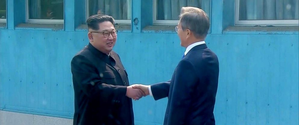 PHOTO: North Korean leader Kim Jong Un shakes hands with South Korean President Moon Jae-in at the inter-Korean summit at the truce village of Panmunjom, in this still frame taken from video, South Korea, April 27, 2018.
