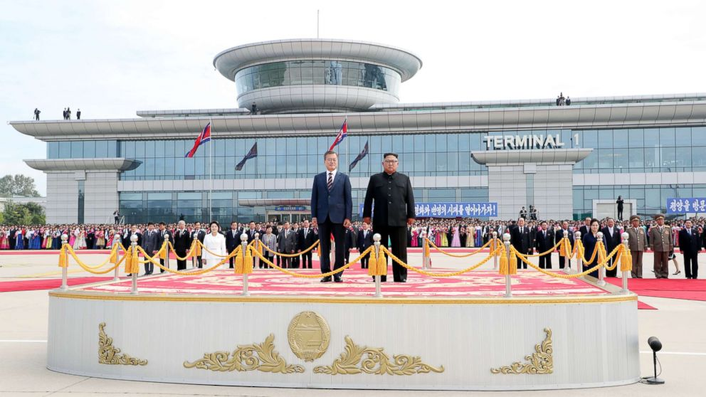 South Korean president Moon Jae-in and North Korean leader Kim Jong Un stand facing the honor guards ceremony at Sunan International Airport, Pyongyang North Korea. Sep 18, 2018.