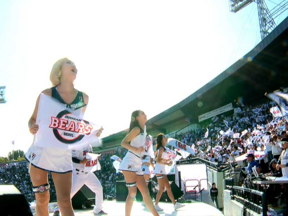 PHOTO: Cheerleaders encourage the crowd at a baseball game in Seoul, South Korea.