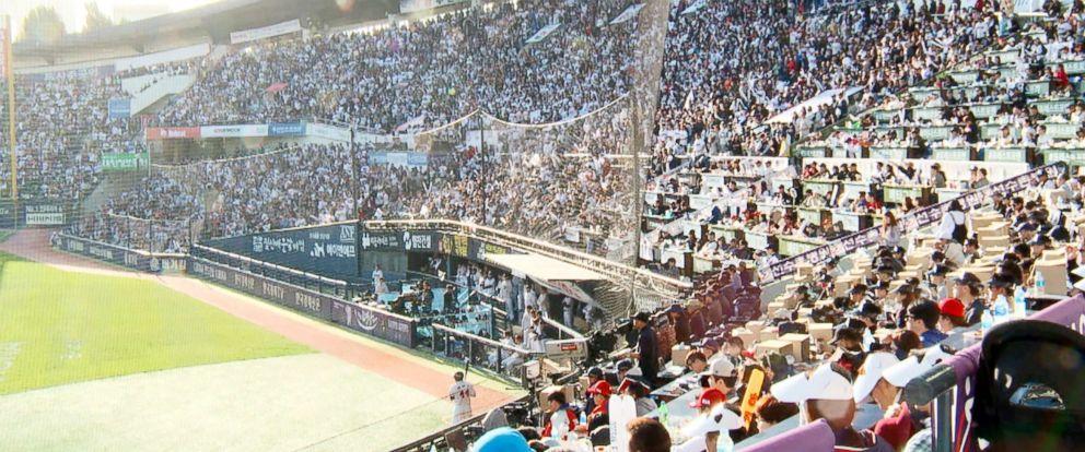 PHOTO: Baseball fans pack the stadium in Seoul, South Korea.