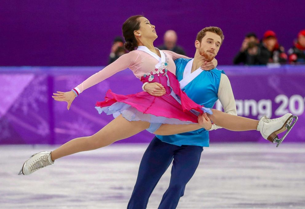 Min Yura and Alexander Gamelin of South Korea in action during the ice dance free dance of the Figure Skating competition, Feb. 20, 2018.