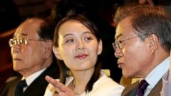 'PHOTO: South Korean President Moon Jae-in, right, gestures as he speaks to Kim Yo-jong, the sister to North Korean leader Kim Jong-un. At left is Kim Young Nam, the president of the Presidium of the Supreme People's Assembly of North Korea, Feb. 12, 2018.' from the web at 'https://s.abcnews.com/images/International/korean-relations-olympic-01-nc-jrl-180224_16x9t_240.jpg'
