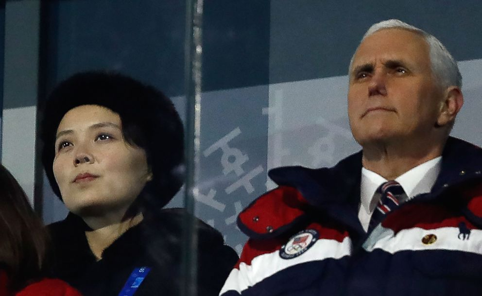 PHOTO: Vice President Mike Pence, right, and North Koreas Kim Yo-Jong, the sister to North Koreas leader, Kim Jong-Un, attend the opening ceremony of the Pyeongchang 2018 Winter Olympic Games, Feb. 9, 2018.