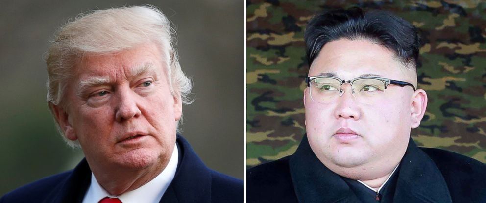 PHOTO:President Donald Trump in Washington, D.C., March 19, 2017 and North Korean leader Kim Jong-Un in North Korea, in an undated photo released Jan. 28, 2017.