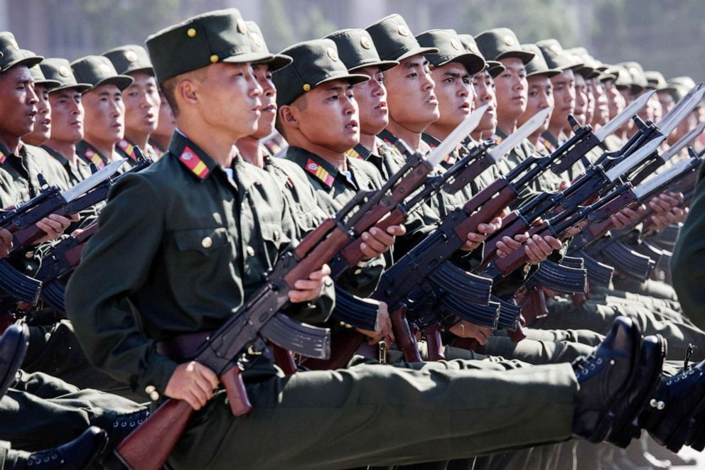 PHOTO: Korean Peoples Army soldiers march during a mass rally on Kim Il Sung square in Pyongyang in this Sept. 9, 2018 file photo.