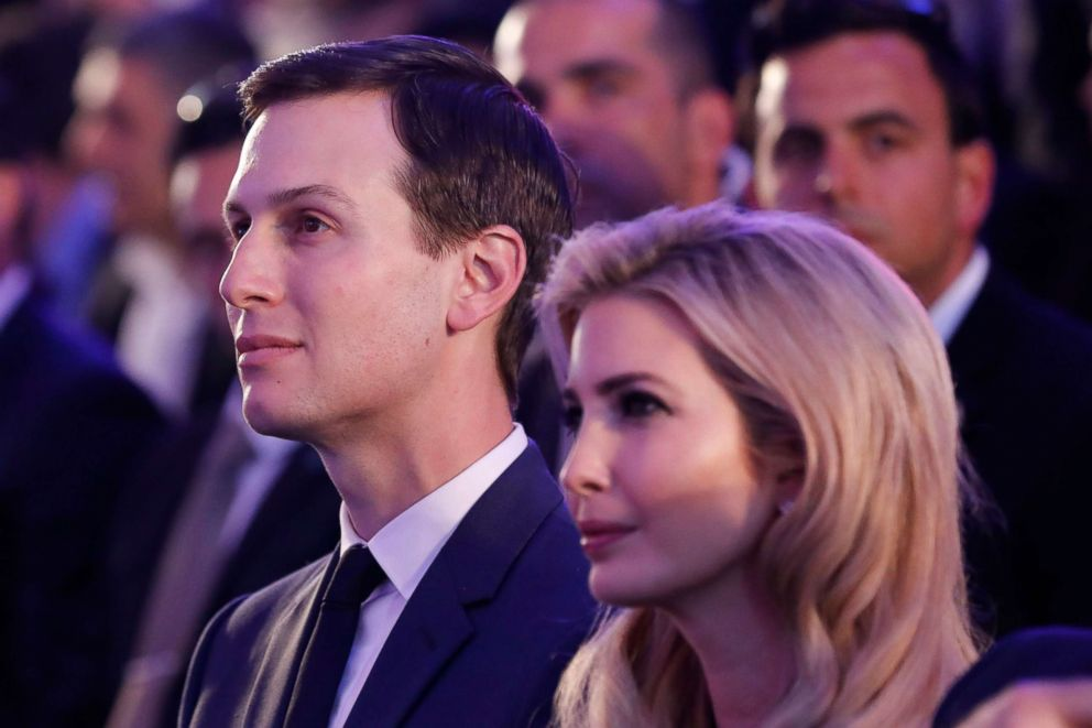 PHOTO: Ivanka Trump and Jared Kushner attend a reception ceremony for the US delegation ahead of the move of the US embassy to Jerusalem, May 13, 2018.