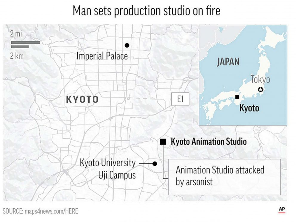 PHOTO: Kyodo Animation Studio attacked by arsonist