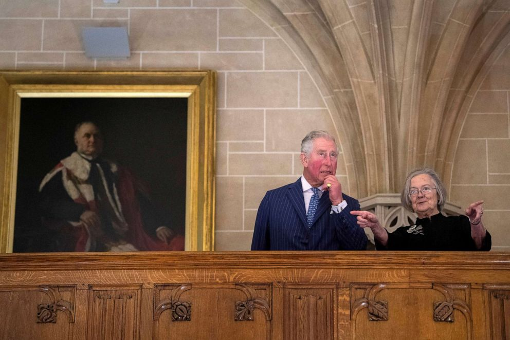 PHOTO:Charles, the Prince of Wales accompanied by Lady Hale, the President of the Supreme Court, visits the Supreme Court of the United Kingdom in Parliament Square to commemorate its 10th anniversary, in London, Feb. 5, 2019.