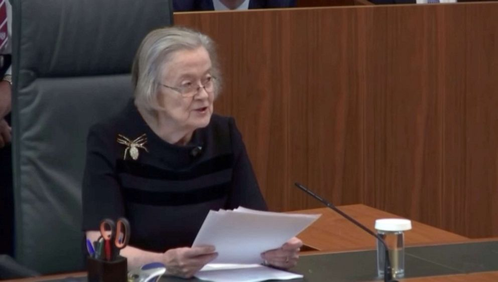 PHOTO: Head of Supreme Court of the United Kingdom Lady Brenda Hale announces ruling, that British Prime Minister Boris Johnsons decision to prorogue parliament was unlawful in London, Sept. 24, 2019.