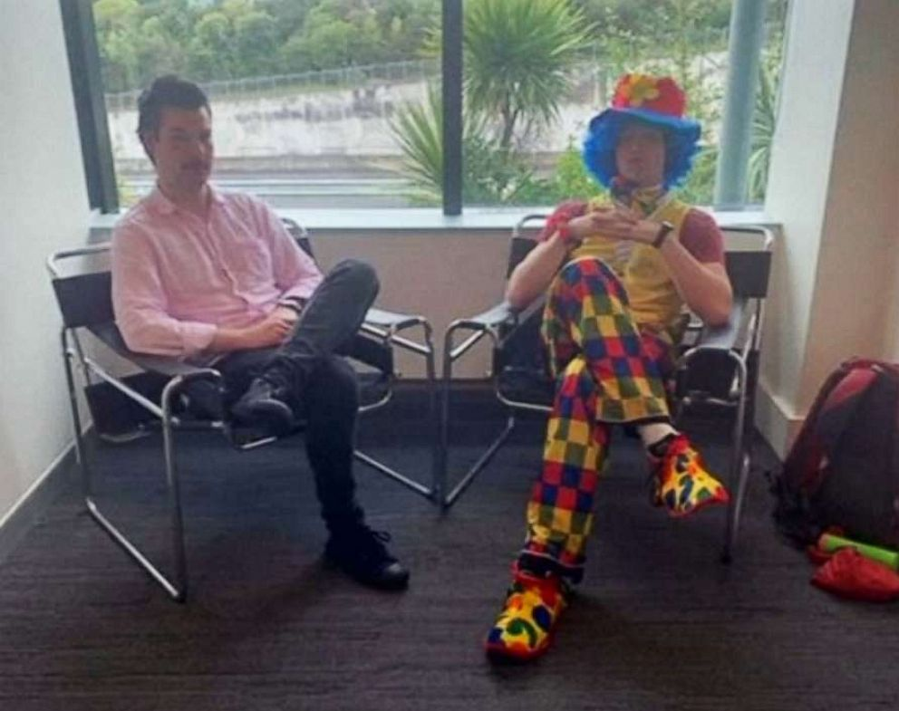PHOTO: Advertising copywriter Josh Thompson brought a clown to a redundancy meeting for emotional support when he was laid off by FCB New Zealand in Auckland, New Zealand.