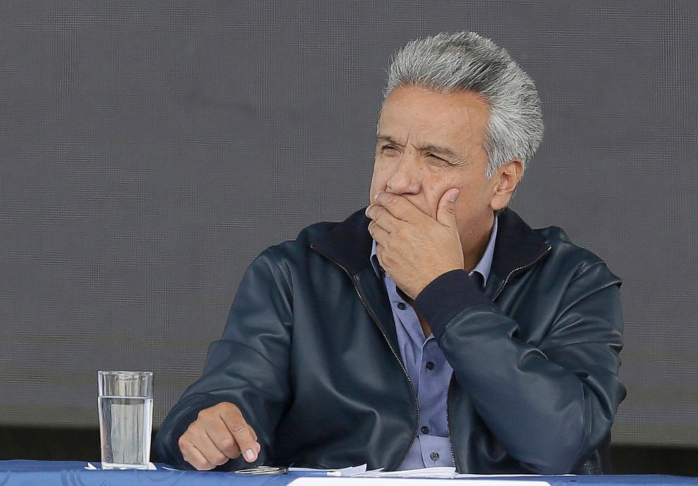 PHOTO: Ecuadors President Lenin Moreno attends the inauguration of the Agua Para Todos or Water for Everyone government program, in Latacunga, Ecuador, April 11, 2019.