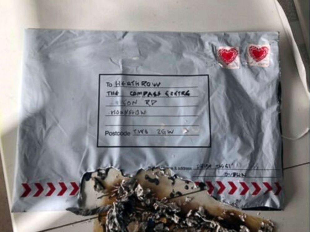PHOTO: In this handout photo provided by Sky News, a suspect package that was sent to Heathrow airport and caught fire is seen in England, March 5, 2019.