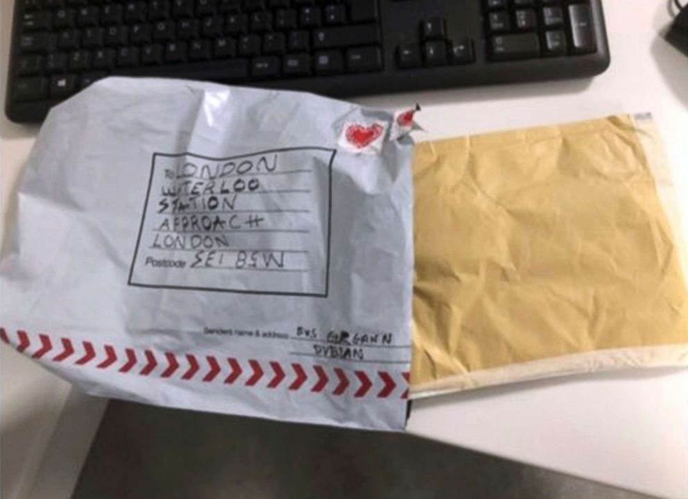 PHOTO: In this handout photo provided by Sky News, a suspect package that was sent to Waterloo station is seen in England, March 5, 2019.