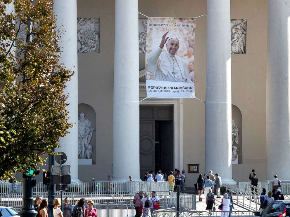 PHOTO: A photo of Pope Francis is hung in front of the Cathedral Basilica of St Stanislaus and St Ladislaus in Vilnius, Lithuania, Sept. 21, 2018, ahead of Pope Francis upcoming visit to Lithuania.