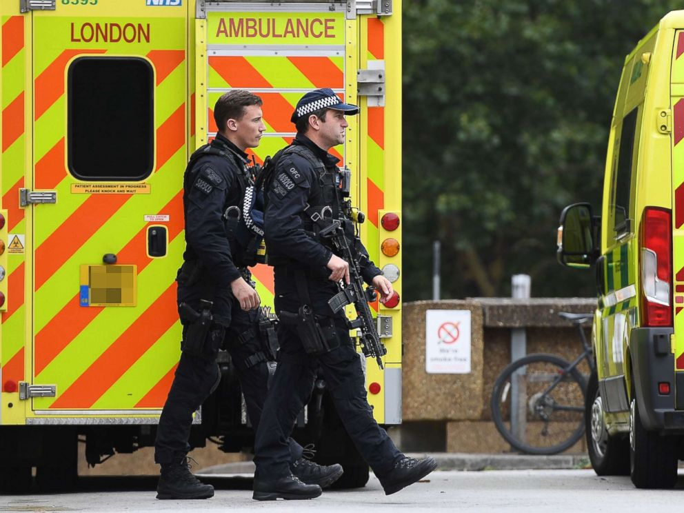 PHOTO: Armed police at St. Thomas hospital close to the scene of an incident at Houses of Parliament in London, Aug. 14, 2018.