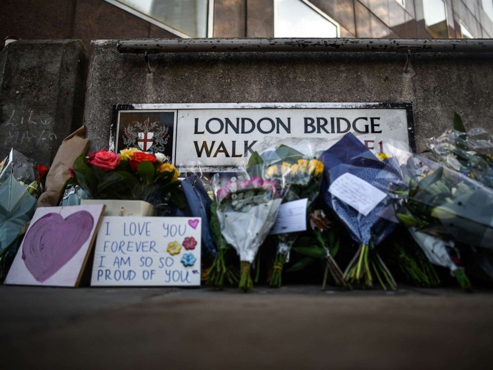 PHOTO: In this photo taken on Dec. 2, 2019, floral tributes are left for Jack Merritt and Saskia Jones, who were killed in a terror attack in London, England.