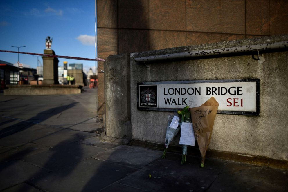 PHOTO: Flowers rest against a wall at the scene of yesterdays London Bridge stabbing attack on Nov. 30, 2019 in London.