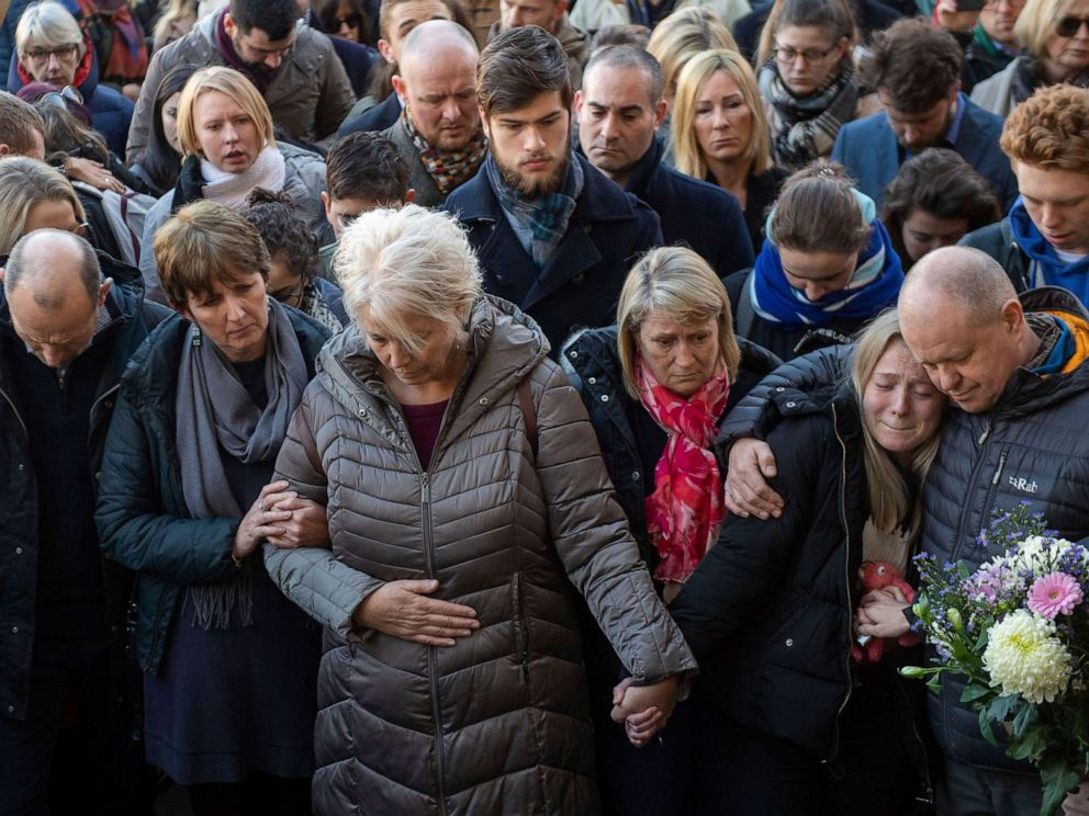 PHOTO: The family of Jack Merritt take part in a vigil at The Guildhall to honor him and Saskia Jones, in Cambridge, England, Dec. 2, 2019.