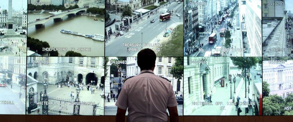 PHOTO: A member of the Metropolitan Police in London watches the feeds from CCTV cameras, Aug. 25, 2009.