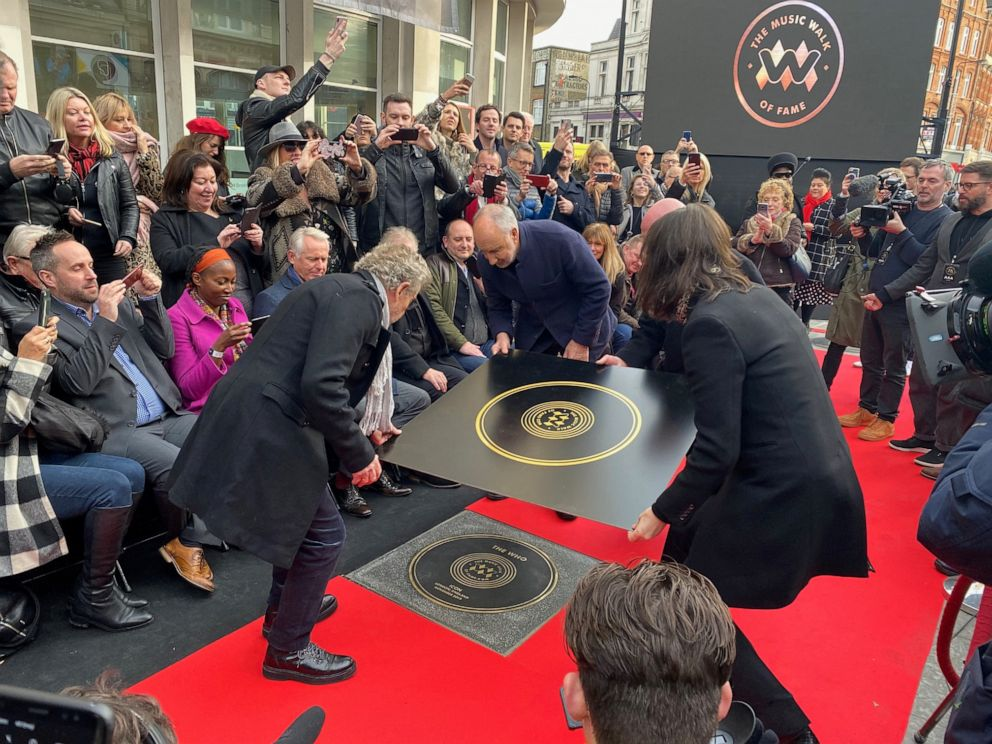 hollywood PHOTO: Pete Townshend and Roger Daltrey of The Who attend the unveiling of the founding stone of the new Music Walk of Fame in London, Nov. 19, 2019.