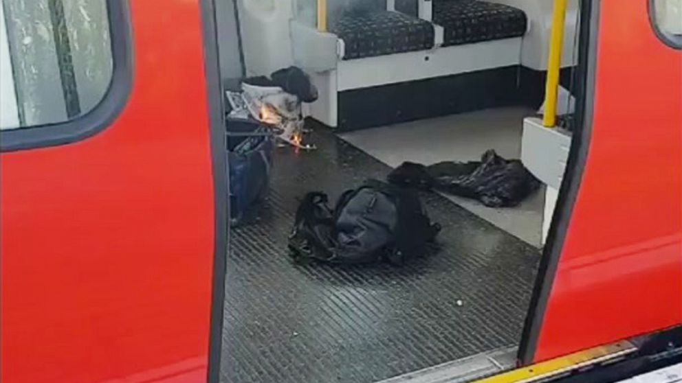 Burning items at the scene of an explosion in London, Sept. 15, 2017.