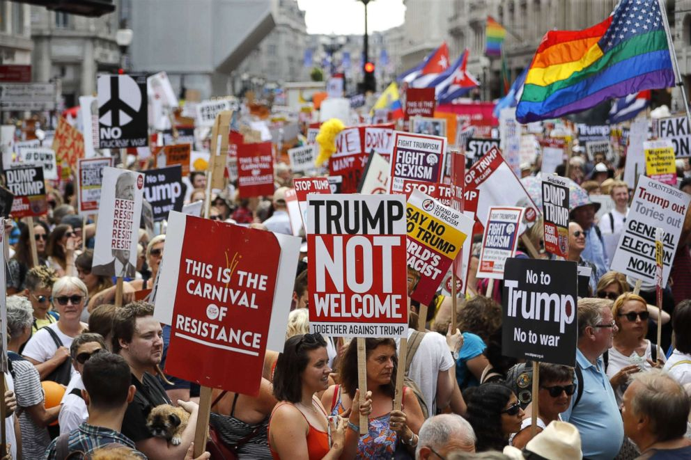 PHOTO: People protest the visit of President Donald Trump in London, July 13, 2018.