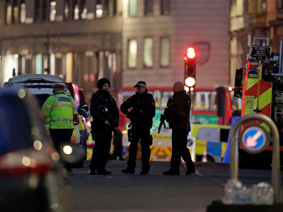 PHOTO: Armed police officers on the north side of London Bridge in London, Nov. 29, 2019.