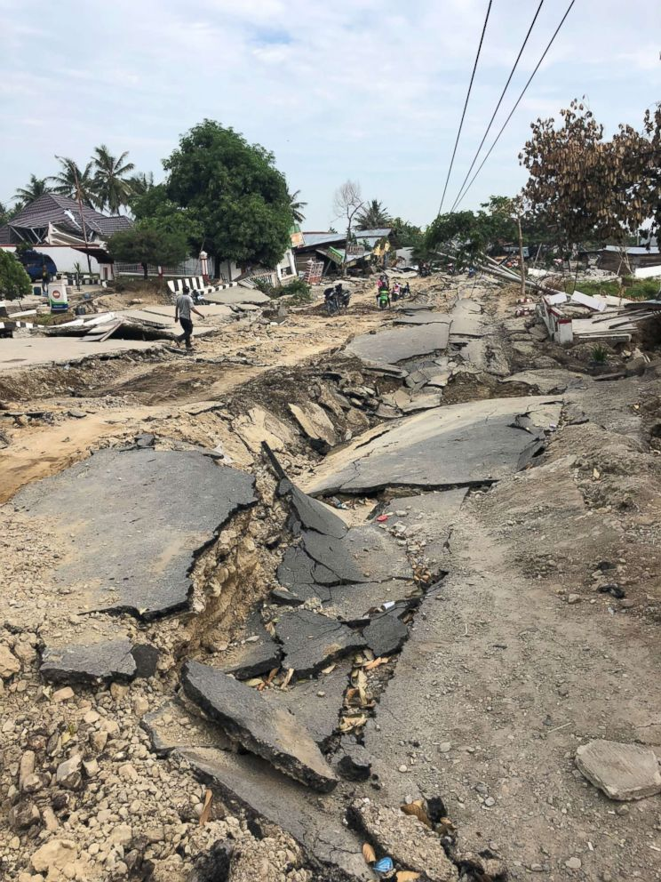 PHOTO: Roads near Palu, Indonesia, were left in rubble by an earthquake, which hit the country Friday, Sept. 28, 2018.