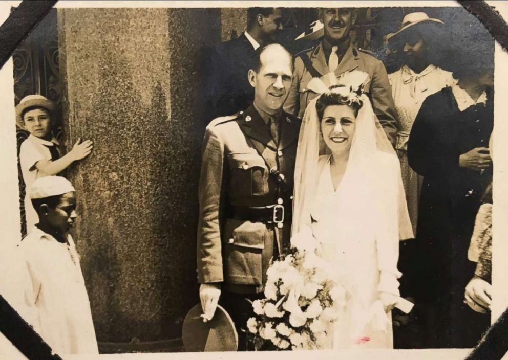 PHOTO: Gabriella Sawaya and Harold Claridge on their wedding day in 1944. They were married at the Helipolis Basilica in Cairo.
