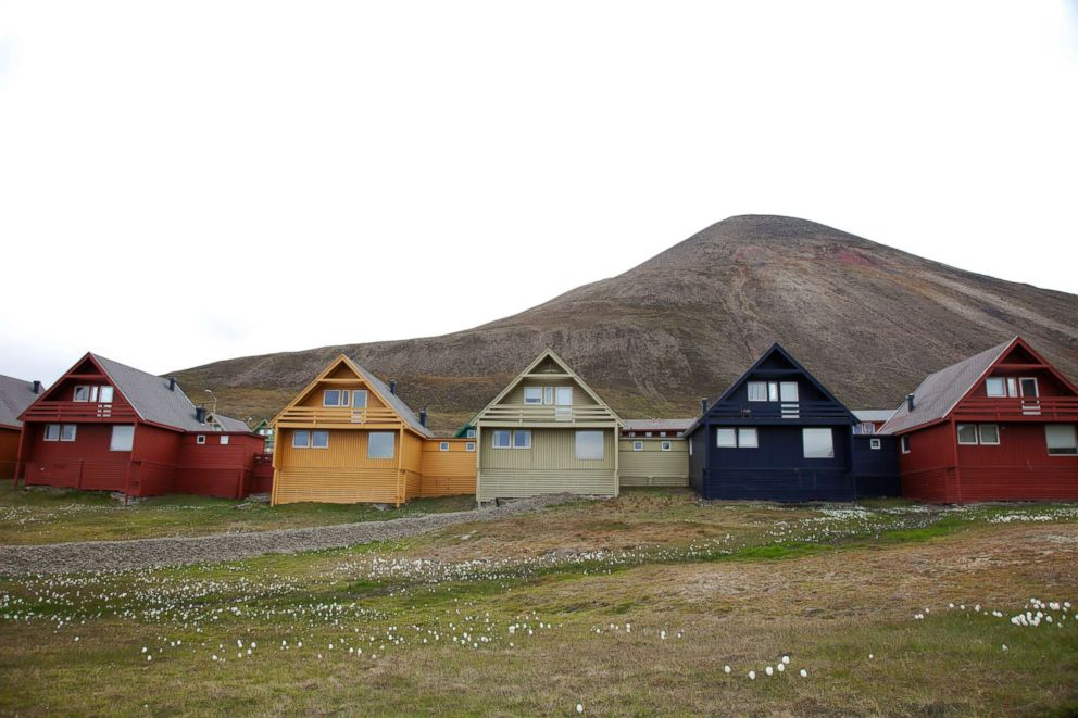 A row of house in Longyearben, Svalbard in Norway.