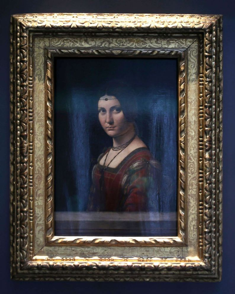 PHOTO: Portrait of a Woman by Leonardo da Vinci, is displayed at the Louvre Museum in Abu Dhabi.
