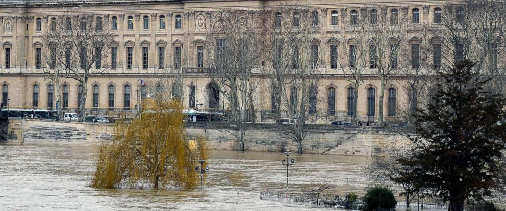 PHOTO: The rain-swollen River Seine threatens the Louvre Museum as water levels increase, Jan. 24, 2018 in Paris, France. The capitals authorities said the river could rise to the highest level in over a century.