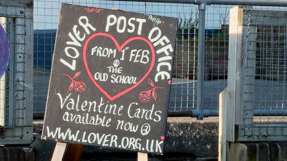"""A pop-up post office in the English village Lover allows visitors to get their Valentine's Day cards stamped with an official Lover """"cachet"""" stamp."""