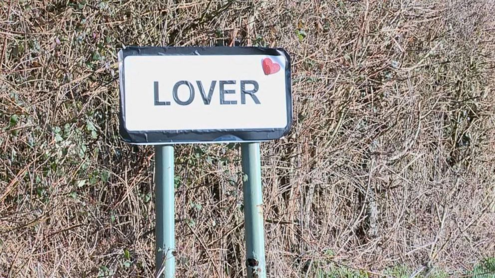 PHOTO: A pop-up post office in the English village Lover allows visitors to get their Valentines Day cards stamped with an official Lover cachet stamp.