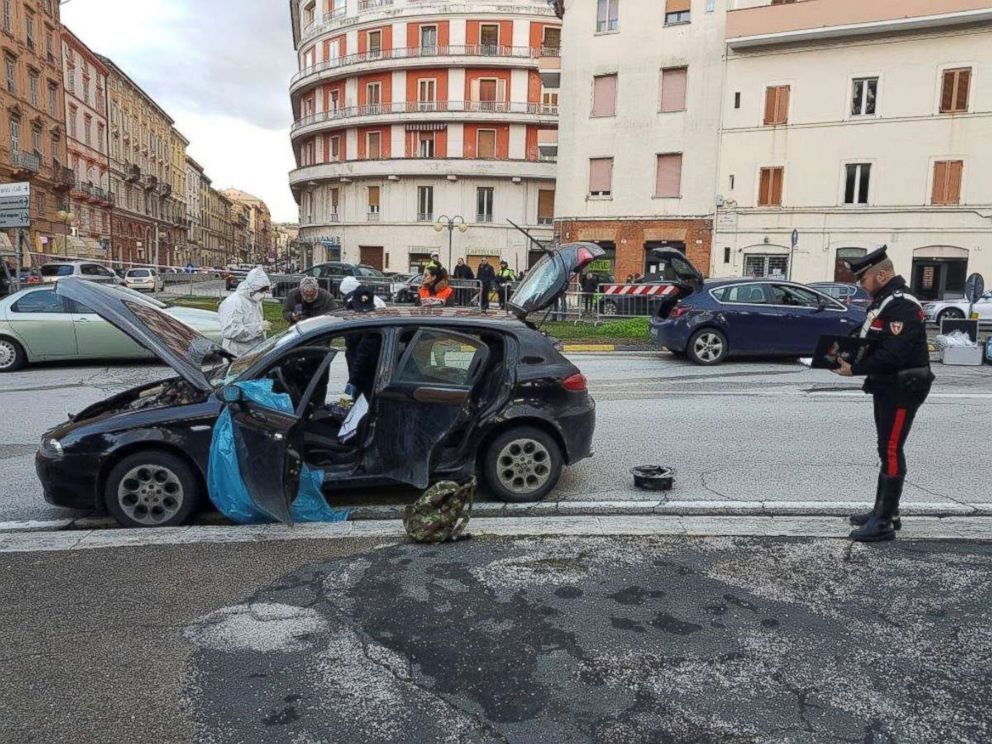 PHOTO: The car of the suspected shooter Luca Traini, 28, who opened fire on African migrants is seen in Macerata, Italy on Feb. 3, 2018.