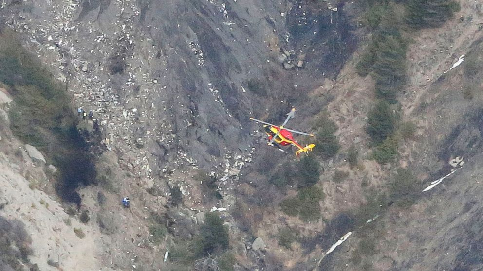 Wreckage is seen where a Germanwings Airbus A320 airliner has crashed in the French Alps between Barcelonnette and Digne on March 24, 2015.