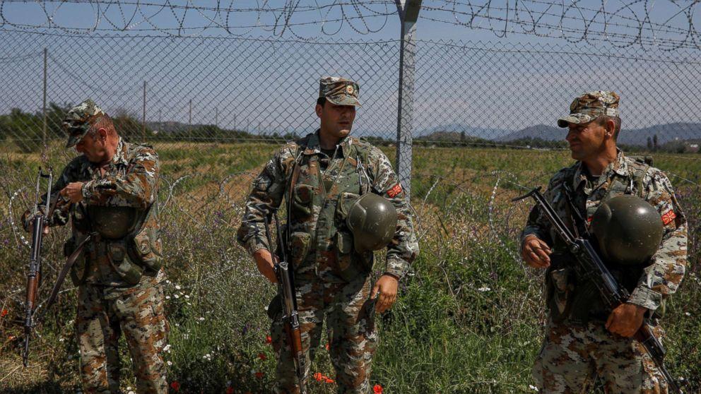 Macedonian soldiers patrol at the Macedonia-Greece border near Gevgelija, Macedonia, June 3, 2018.