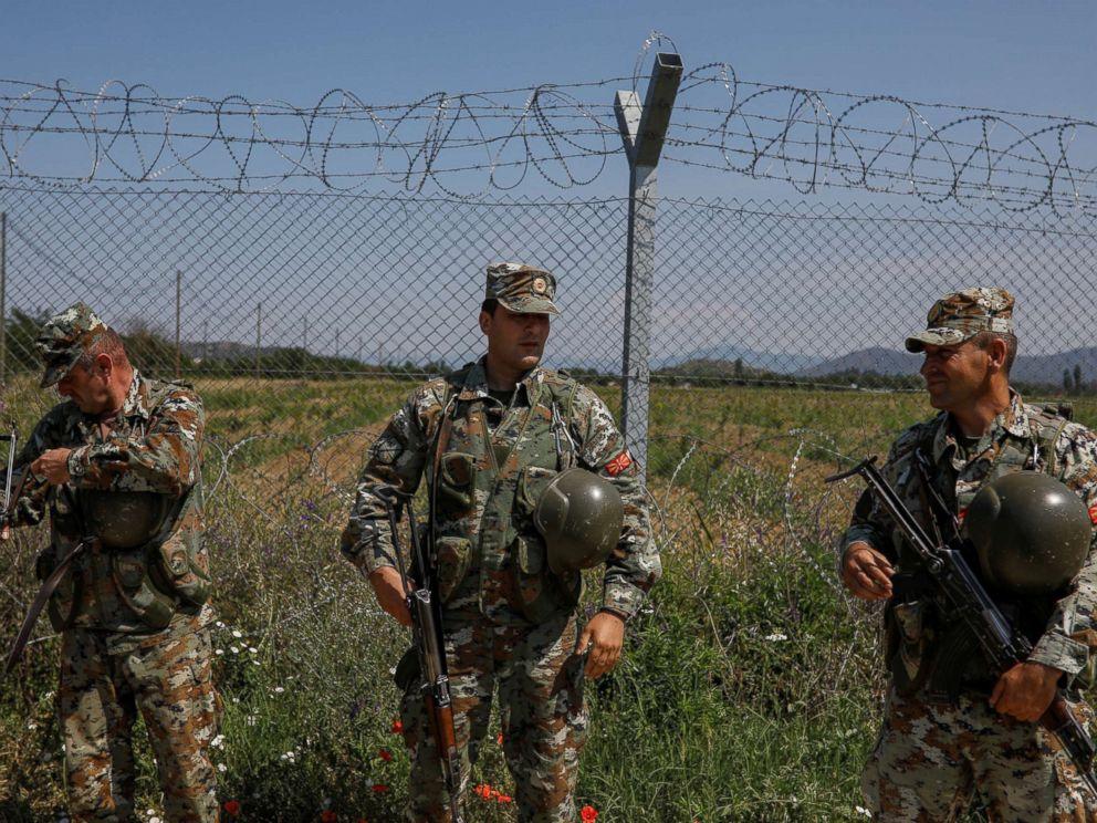 PHOTO: Macedonian soldiers patrol at the Macedonia-Greece border near Gevgelija, Macedonia, June 3, 2018.  Greece and Macedonia hope to end decades-long dispute over name macedonia name change 05 rtr jc 180613 hpMain 4x3 992