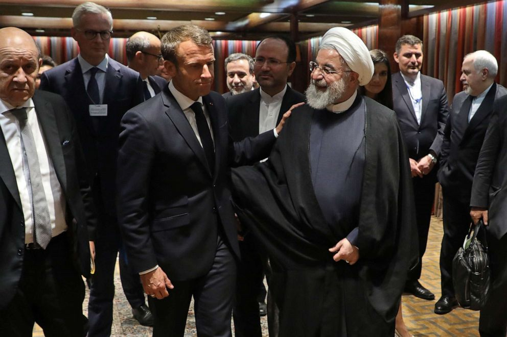 PHOTO: French President Emmanuel Macron and Iranian President Hassan Rouhani speak after a meeting at the United Nations headquarters on September 23, 2019, in New York.