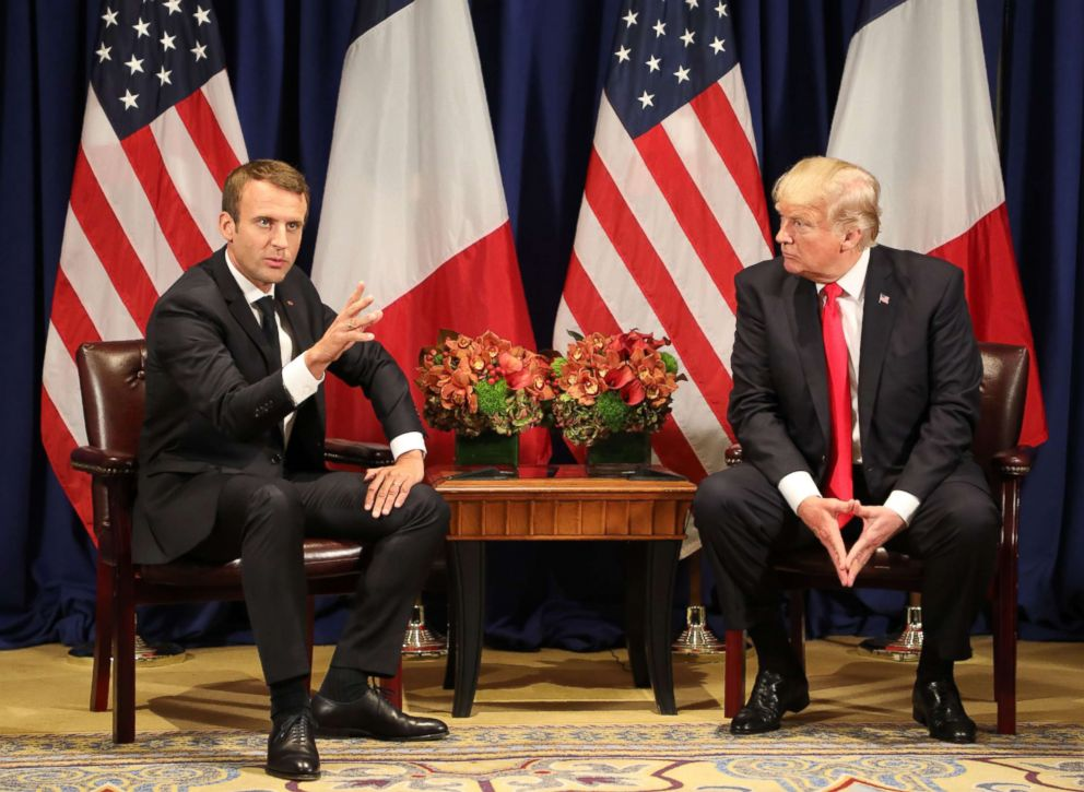 PHOTO: Frances president Emmanuel Macron meets with President Donald Trump in New York on the sidelines of the 72nd session of the United Nations General Assembly, Sept. 18, 2017.