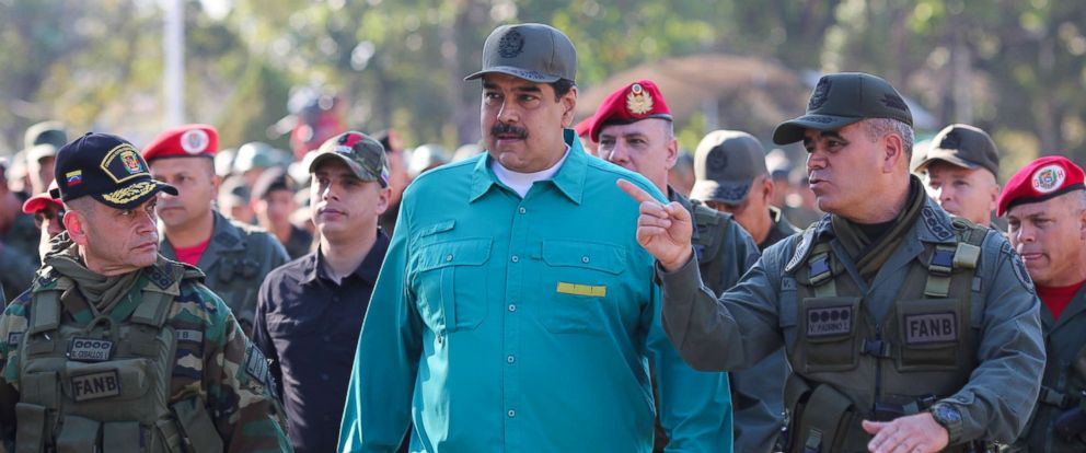 PHOTO: Venezuelas President Nicolas Maduro speaks with Venezuelas Defense Minister Vladimir Padrino Lopez and Remigio Ceballos Strategic Operational Commander of the Bolivarian National Armed Forces in Valencia, Venezuela, Jan. 27, 2019.