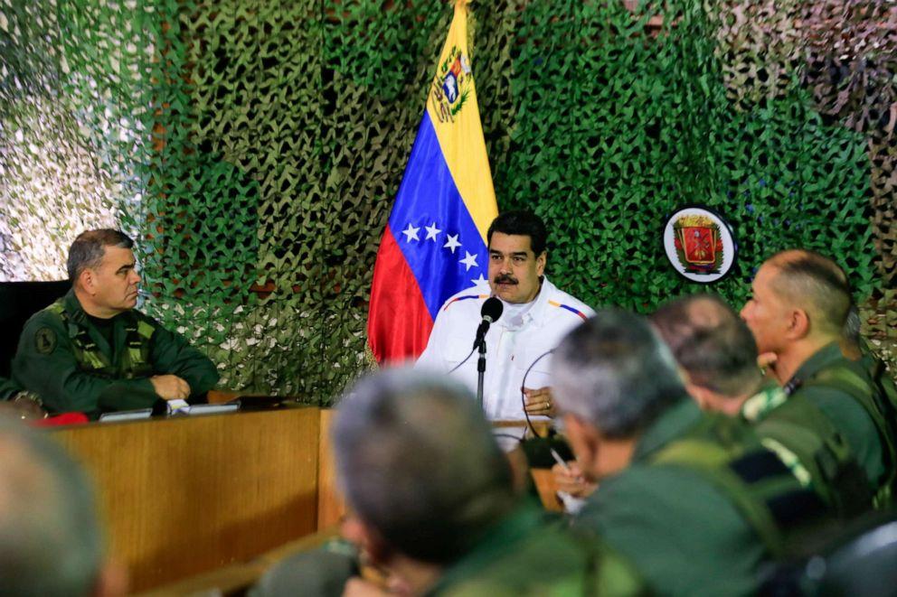 PHOTO: Venezuelas President Nicolas Maduro speaks during a meeting with military high command members in Caracas, Venezuela, July 24, 2019.