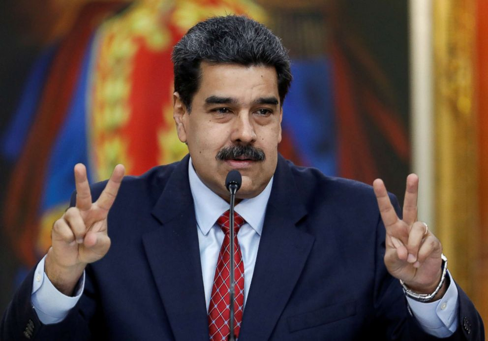 PHOTO: Venezuelas President Nicolas Maduro gestures as he speaks during a news conference at Miraflores Palace in Caracas, Venezuela, Jan. 25, 2019.