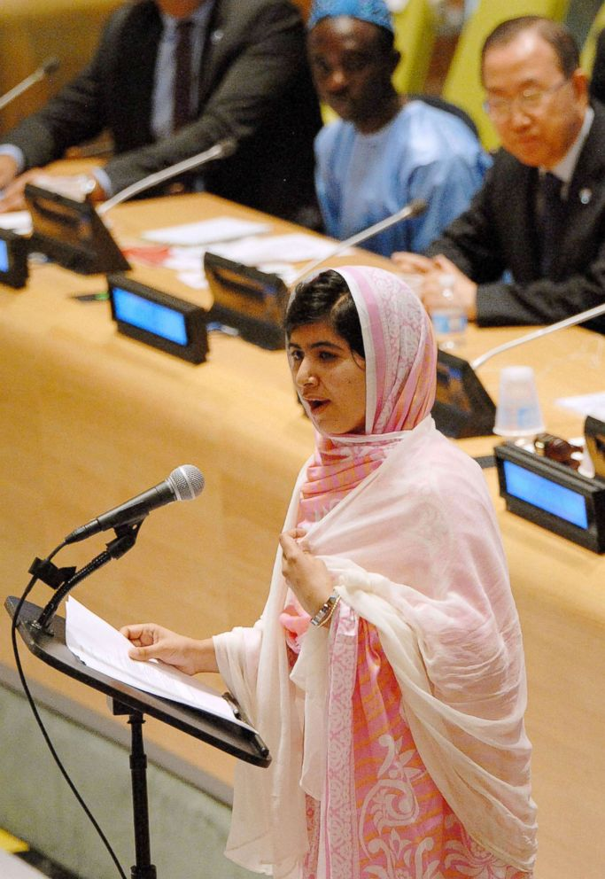 PHOTO: Malala Yousafzai delivers a speech at the U.N. headquarters in New York, July 12, 2013, her first public speech since she was critically injured.