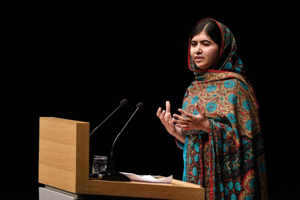 PHOTO: Pakistani rights activist Malala Yousafzai addresses the media in Birmingham, England, October 10, 2014, after receiving the Nobel Peace Prize.