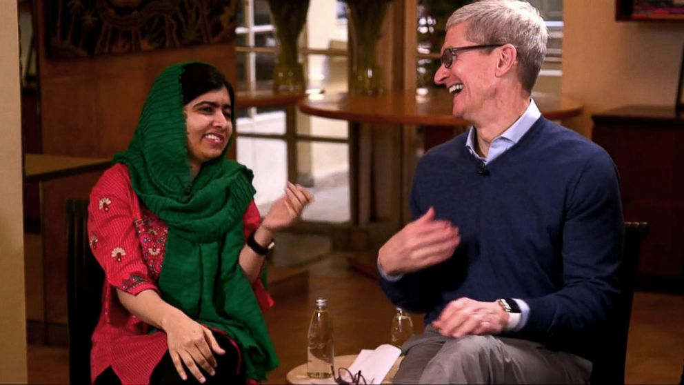 Activist and Nobel Peace Prize Laureate Malala Yousafzai and Apple CEO Tim Cook are collaborating on education for women and girls. The two met to discuss the effort with ABC's Terry Moran in Beirut, Lebanon, Jan. 20, 2018.