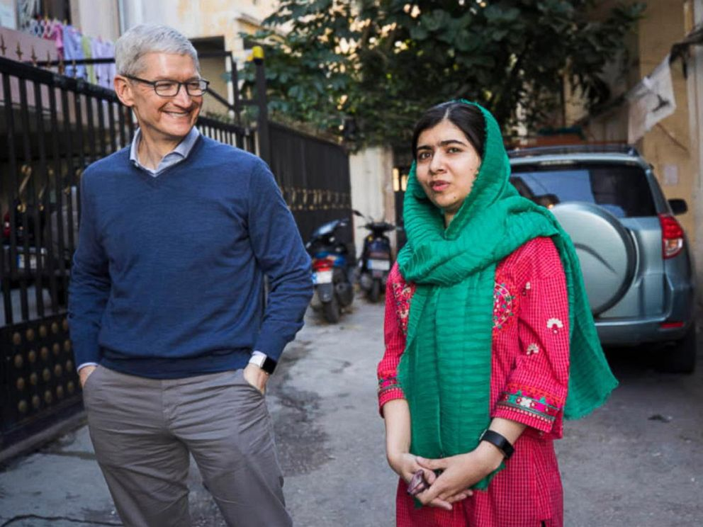 PHOTO: Activist and Nobel Peace Prize Laureate Malala Yousafzai and Apple CEO Tim Cook are collaborating on education for women and girls. The two met to discuss the effort with ABC's Terry Moran in Beirut, Lebanon, Jan. 20, 2018.