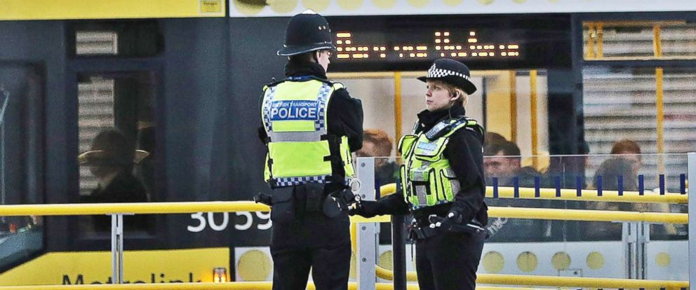 PHOTO: Police officers are pictured at Manchester Victoria Metrolink station, in Manchester, north west England, Jan. 01, 2019.