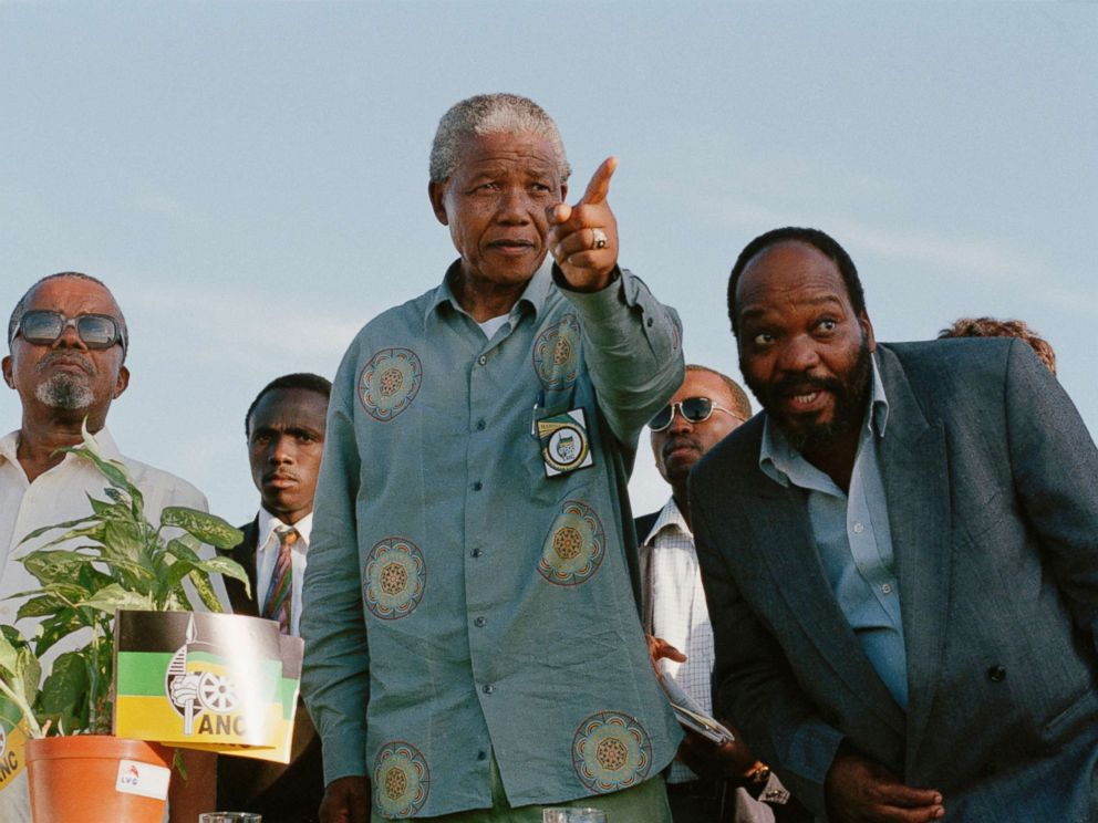 PHOTO: Nelson Mandela gestures while on the campaign trail with Jacob Zuma during South Africas first democratic elections on April 16, 1994 in Ladysmith, Kwazulu Natal, South Africa.